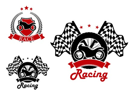 motosport: Motorcycle with a tire and race flags on the background and heraldic shield with motorbike icons for motosport and racing design, adorned by black and red ribbon banners and laurel wreath
