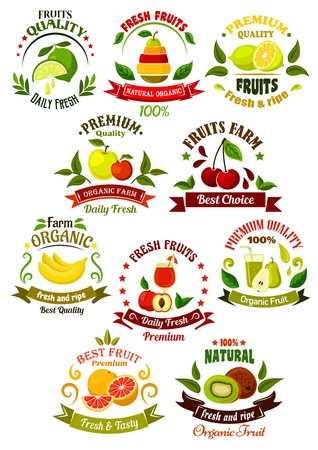 apples and oranges: Organically grown farm fruits retro icons for agriculture, eco farming, organic shop or local market design template with fresh apples, lemons, kiwi, pears, bananas, peach, cherries, oranges and limes, framed by colorful ribbon banners, juice drops, leave