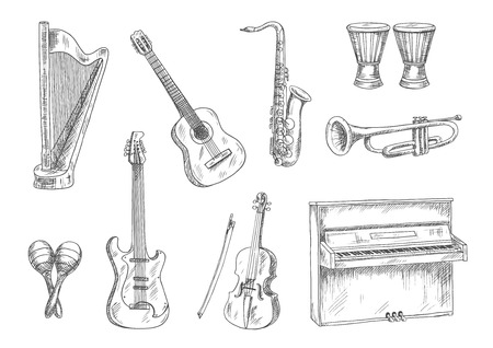 upright piano: Classic acoustic and electric guitars, saxophone, violin, trumpet, upright piano, conga drums and harp sketches. Vintage engraving musical instruments icons for art, music, entertainment and education theme design usage