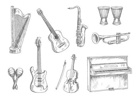 Klassieke akoestische en elektrische gitaren, saxofoon, viool, trompet, piano, conga drums en harp schetsen. Gravure muziekinstrumenten iconen voor kunst, muziek, entertainment en onderwijs thema ontwerp gebruik