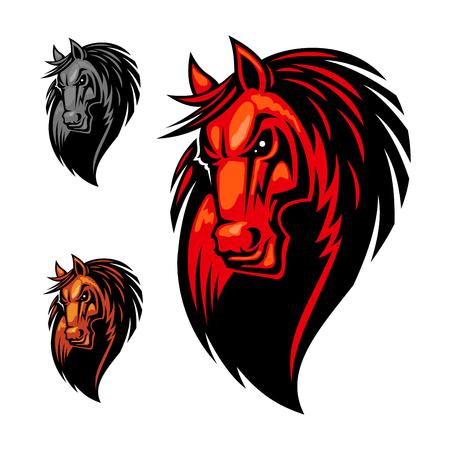 Wild angry horse head mascot. Mustang or stallion in cartoon style for equestrian sport