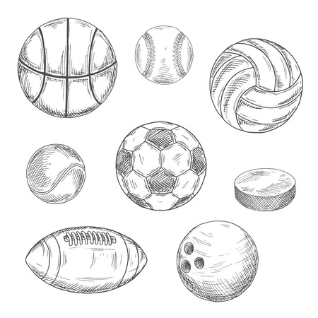 sketched icons: Sketched sporting balls for soccer or football, baseball, basketball, american football, volleyball, tennis, bowling and puck for ice hockey. Sporting items isolated icons for sport competition or team mascot design usage