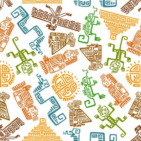 Etnische oude Mexicaanse naadloze patroon met Maya en Azteekse sier totems van de zon, piramide, adelaar, raaf, aap, slang, hagedis en idool op een witte achtergrond. Gebruik als interieur textiel, behang of geschiedenis achtergrond ontwerp gebruik
