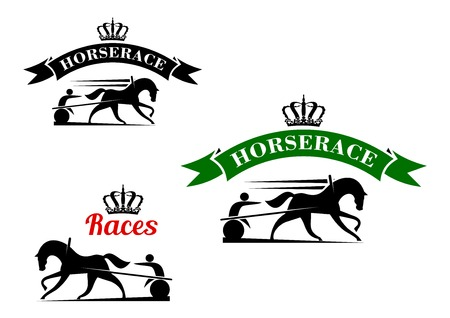 tourney: Equestrian sport competition icons for harness racing design template with running horses in horse harness with lightweight two wheeled carts, supplemented crowned ribbon banners above