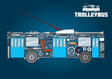 axles: Electric trolleybus mechanical silhouette icon of detailed main components and parts with boarding and exit doors, trolley poles with base in shroud, windows, seat, steering wheel, wheels, crankshafts, axles, bearings, pressure hoses, gauges, headlight an Illustration