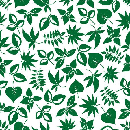foliages: Dark green foliage seamless background for nature theme, retro wallpaper or fabric design with cartoon pattern of various leafy branches Illustration