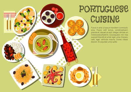 brandy: Bright and tasty dinner of portuguese cuisine icon with caldo verde cabbage soup with smoked sausages, octopus, french fries with hot sandwich, feijoada bean stew with meat and rice, baked cod with potato, arbutus fruit brandy and jam, chocolate and custa