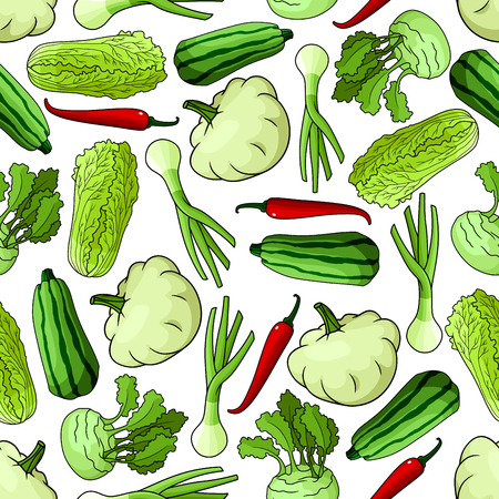 spring onions: Bright spring vegetables seamless pattern with green onions, striped zucchini, chinese cabbages, red chilli peppers, kohlrabi and pattypan squashes over white background. Use for agriculture, vegetarian food theme or kitchen interior design Illustration