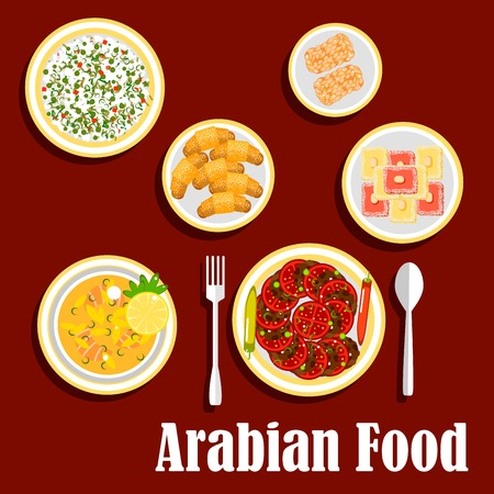 fresh food fish cake: Traditional lunch of arab cuisine with desserts icon with fish soup, falafels, served with fresh tomatoes and chilli peppers, cold rice salad with green peas, semolina cakes, topped with almonds, sesame bars and zaatar croissants. Flat style Illustration