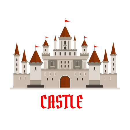 turrets: Fortified victorian medieval castle symbol for architecture, adventure and fairy tale design usage with elegant main keep with red flags on turrets, guarded by walls with battlements and watchtowers
