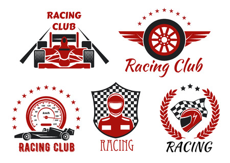 racer flag: Racing club and motorsport competitions symbols with open wheel racing cars, racer, protective helmet and winged wheel, framed by speedometer, racing flag, checkered shield, laurel wreath and stars