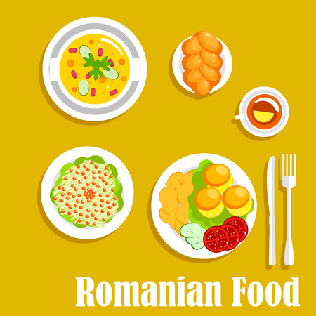 romanian: Romanian vegetarian dinner icon with cornmeal mush mamaliga served with fried potatoes and fresh tomatoes and cucumbers on the side, pickled cabbage salad, topped with cranberries fruits, vegetarian bean stew and cup of tea with braided bun. Flat style