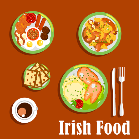 baked beans: Traditional irish breakfast icon with fried eggs and sausages, baked beans and tomatoes, meat and root vegetables stew, mashed potato topped with boiled pigs feet and cup of coffee with raisin bread barmbrack. Flat style Illustration