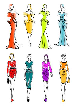 Bastante jóvenes modelos femeninas de moda coloridos siluetas croquis que presentan atuendos casuales de negocios y magnífica noche y vestidos de cóctel con accesorios. Grande para el uso del diseño de la moda y las compras Ilustración de vector
