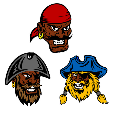 Dangerous pirates crew characters. Dark skinned pirate captain and boatswain with shaggy beards wearing vintage hats and eye patches and moustached angry gunner in red bandana Illustration
