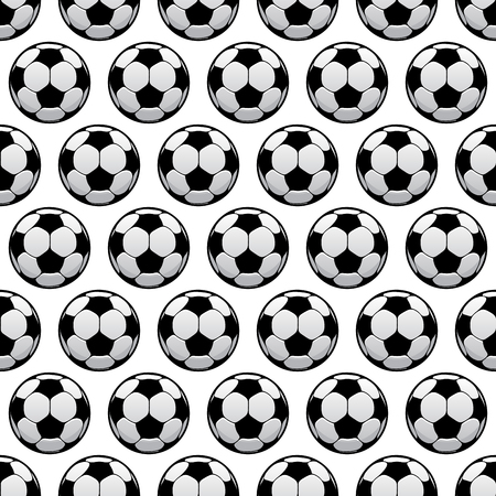 soccer balls: Sporting balls background for sport club, team or championship concept design usage with black and white seamless football or soccer balls pattern