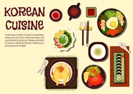 food illustration: Colorful summer dishes of korean cuisine icon with chicken ginseng soup, sushi rolls kimbap, rice bibimbap topped with vegetables and fried egg, cold noodles, spicy crab and jujube tea with shaved ice dessert topped with strawberry, kiwi and banana fruits