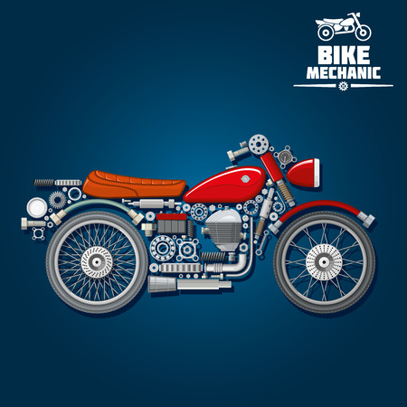 exhaust pipe: Motorcycle mechanic silhouette symbol with wheels, gas tank, seat, engine, battery and exhaust pipe, gears and cogwheels, absorbers and fork, suspension and kickstand, headlight and bearings. Use as transportation design