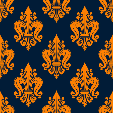 tendrils: Vintage fleur-de-lis pattern with seamless orange floral compositions of french heraldic lilies adorned by swirls and tendrils over navy blue background. Great for wallpaper or interior textile design