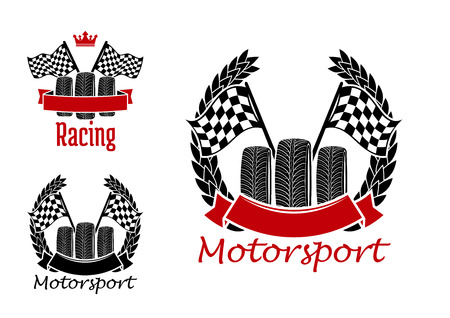 racing: Motorcycle racing, motocross, rally and auto racing symbols for motorsport design with wheels and checkered racing flags encircled by winner laurel wreaths, ribbon banners and crown