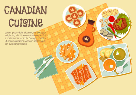 canadian icon: Canadian picnic dishes icon with top view of table with grilled beef steak and vegetables on the side, french fries topped with cheese curd and bacon, creamy pea and pumpkin soups, maple syrup bottle and butter tarts. Flat style