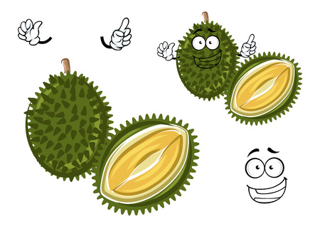 odour: Chinese king of fruits durian cartoon character. Oriental fruit with overpower odour and funny spikes design for organic farming or vegetarian nutrition theme