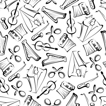 Noir et blanc esquissé des instruments de musique de fond pour le thème des arts ou de la page de scrapbook utilisation de la conception de toile de fond avec un motif sans couture de pianos, saxophones, violons, harpes, accordéons et maracas mexicains