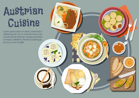 Nutritious austrian dinner and viennese desserts icon with open sandwiches topped with liptauer spread, goulash and pork dumplings, baked pork with boiled potatoes and garlic sauce, cups of coffee with chocolate, pancakes, ice cream and plum dumplings. Fl