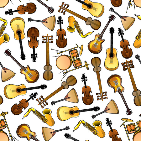 electric guitars: Seamless cartoon drums, violins and saxophones, acoustic and electric guitars, indian sarods and russian balalaikas pattern over white background. Use as classic and ethnic musical instruments theme design Illustration