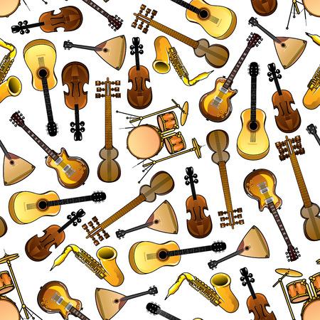 tambours sans soudure de bande dessinée, des violons et des saxophones, guitares acoustiques et électriques, Sarods indien et russe balalaïkas motif sur fond blanc. Utiliser comme classique et des instruments de musique conception de thème ethnique