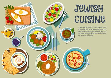 shabat: d�a platos de la cocina jud�a Shabat icono con s�mbolos planas de estofado de cholent, servido con encurtidos y salsa de tomate, hummus con aceitunas y matz�, falafels con salsa de ajo y verduras, ensalada tibia de garbanzos, empanadas de huevo llenado y ensalada de verduras, jugo de una