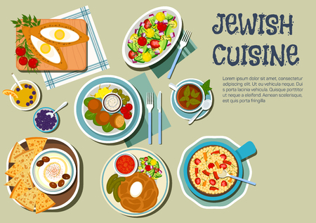 pickles: Shabbat day dishes of jewish cuisine icon with flat symbols of cholent stew, served with pickles and tomato sauce, hummus with olives and matzah, falafels with garlic sauce and vegetables, chickpea warm salad, egg filled pies and vegetable salad, juice an Illustration