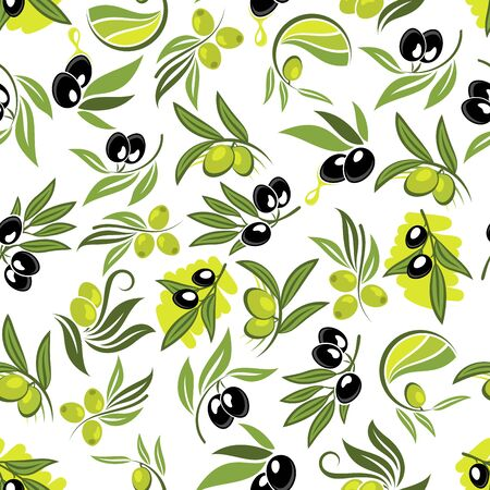 black olive: Seamless fresh branches of olive tree pattern with leafy twigs, green and black olive fruits and drops of olive oil over white background. Use as healthy vegetarian nutrition theme or food packaging design
