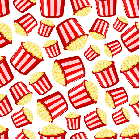 leisure activity: Takeaway popcorn background with cartoon seamless pattern of red and white striped paper buckets of sweet crispy popcorn. Weekend entertainment, leisure activity or cinema fast food design usage