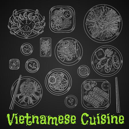 gamba: cena de mariscos vietnamitas tiza dibujo icono con arroz y verduras frescas a la plancha, cangrejo y mejillones, camarones fritos y rollitos de primavera en las semillas de sésamo, zanahoria picante y ensaladas de gambas, fideos de arroz frito y el dibujo de los pescados en la pizarra Vectores