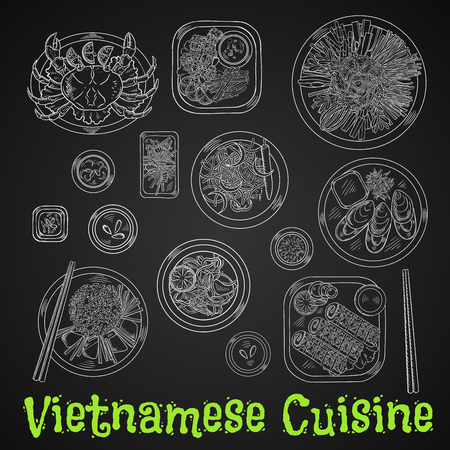 chalk drawing: Vietnamese seafood dinner chalk sketch icon with rice and fresh vegetables, grilled crab and mussels, deep fried shrimps and spring rolls in sesame seeds, spicy carrot and prawn salads, rice noodles and fried fish drawing on chalkboard Illustration