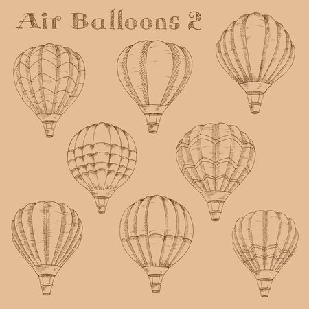 inflated: Vintage engraving sketch illustration of hot air balloons in flight with inflated envelopes. Great for retro air traveling and airship theme or leisure activity design