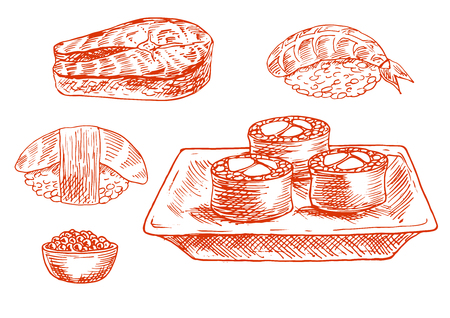 caviar: Sketched japanese sushi rolls and nigiri with shrimp, smoked tuna and avocado fruit, fresh salmon steak and bowl of salted caviar. Engraving stylized seafood symbols for old fashioned recipe book, sushi bar menu and oriental cuisine theme design