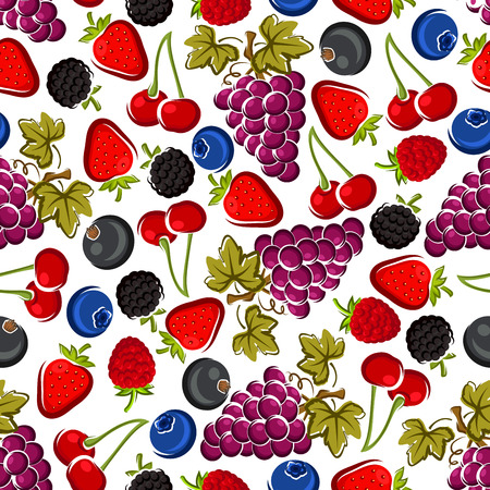Juicy red cherries, strawberries and raspberries, blackberries and bunches of purple grapes with leaves, blueberries and blackcurrants fruits seamless pattern over white background. Recipe book flyleaf or agriculture theme design