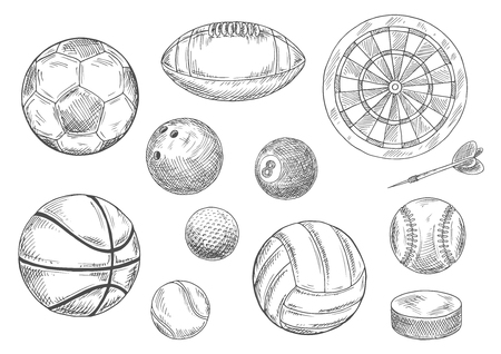 soccer balls: Sporting items for individual and team sporting games isolated sketches with balls for soccer or football, volleyball and basketball, rugby and baseball, golf and tennis, bowling and billiards, dart board with arrow and ice hockey puck
