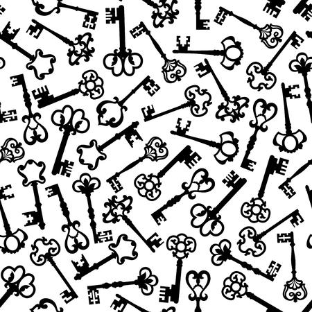 latchkey: Vintage seamless black silhouettes of medieval victorian skeleton keys pattern over white background, adorned by decorative elements with fleur-de-lis motif. Scrapbook page backdrop or interior design Illustration