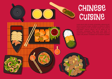 North chinese regional cuisine dishes icon with vegetarian spring pancakes and fried dumplings with sour sauce, spicy shrimps and beans with udon noodles, steamed clams, green pea and prawn salad, white rice, served with orange fruits and crispy seaweed.