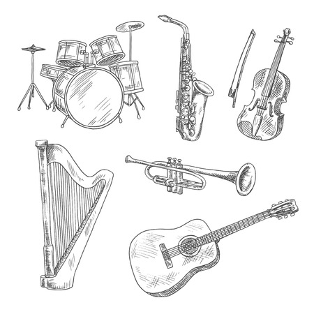 arts and entertainment: Saxophone, violin, drum set, acoustic guitar, trumpet and harp isolated sketches. Vintage engraving musical instruments for arts, music and entertainment design