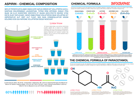 aspirin: Comparison infographics of chemical formulas and compositions of aspirin and paracetamol. For pharmaceutical presentation or health care theme design with colorful divided bar graph and histogram in forms of laboratory test tubes and pill Illustration