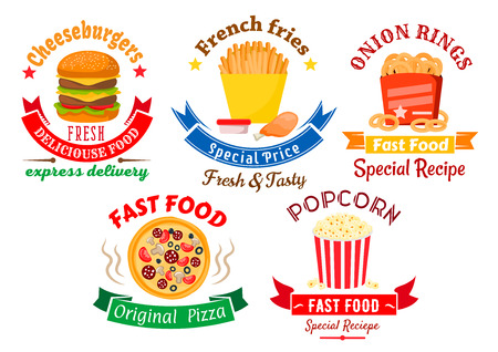 onion rings: Colorful cartoon takeaway dishes symbols for fast food design with pizza and cheeseburger, boxes of french fries and onion rings, chicken leg and striped bucket of popcorn, framed by retro ribbon banners and stars