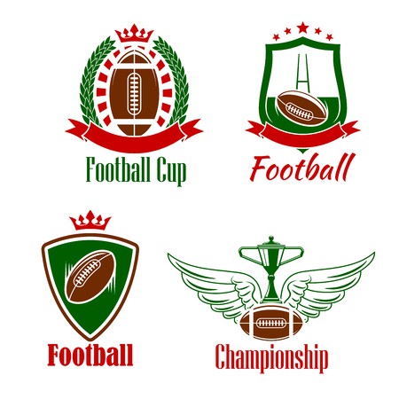 adorned: Retro sporting symbols for rugby championship or sport club design with winner trophy cup stands on winged rugby ball, heraldic shields and laurel wreath with balls and gate, adorned by ribbon banners, stars and crowns