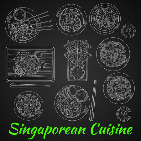 Singaporean dinner chalk sketch on blackboard with chicken rice and chilli crab, flat bread with tartar sauce, grilled beef satay and fried rice with chicken liver, spicy noodle soup and vegetable salad with beans, nasi goreng and fried noodles with shrim Stock Vector - 56393226