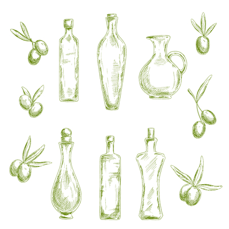 wholesome: Retro sketch drawings of wholesome organic olive oil in decorative figured glass bottles with cork stoppers and old fashioned jug, flanked by fresh olive fruits. Agriculture or healthy nutrition theme design usage Illustration