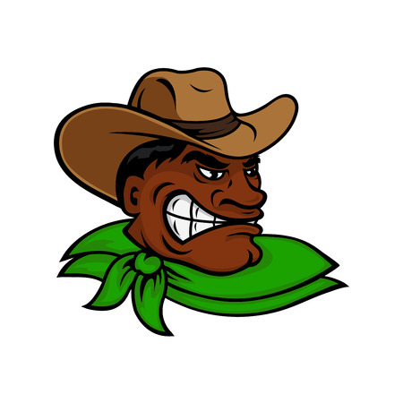 rancher: Brutal cartoon western rodeo cowboy or rancher character with angry dark skinned man, wearing brown hat and green neckerchief. Great for farming or rodeo themes and adventure book design Illustration