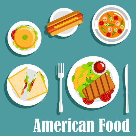 steaks: American cuisine dinner icon of homemade dishes with hot dog, bagel cheeseburger, grilled beef steak, served with potatoes and ketchup, salted salmon sandwiches and tomato seafood soup with shrimps and green chili. Flat style
